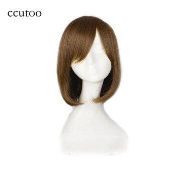 Ccutoo K-ON 히라사와 유이 브라운 35 cm 짧은 스트레이트 보보 syntheitc 헤어 스타일 코스프레 가발 내열성 여성용 머리카락