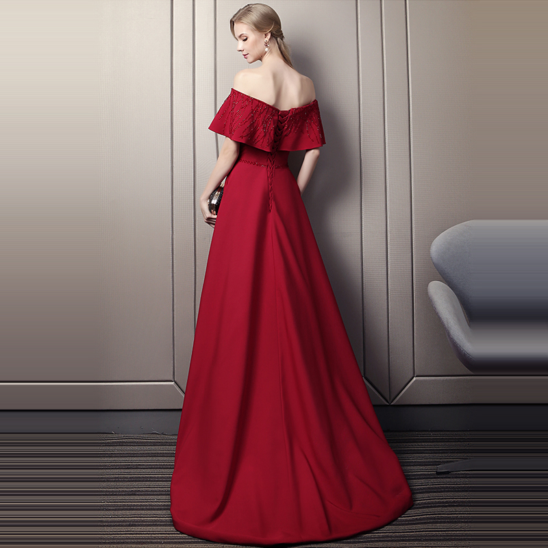 It's Yiiya Evening Dress 2019 Wine Red Bot Neck Ruffles Crystal Small Trailing  Zipper Formal Gowns LX1602 robe de soiree
