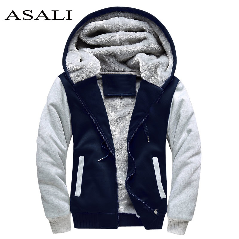 ASALI Bomber Jacket Men 2019 New Brand Winter Thick Warm Fleece Zipper Coat para hombre SportWear Chándal Sudaderas con capucha europeas