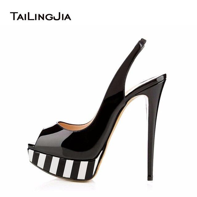 a1e1b69e32 Peep toe Platform High Heels for Women Shiny Black Nude Red Leopard  Slingbacks Sexy Sandal Cute Pumps Extremely High Dress Shoes