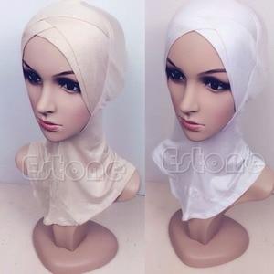 Image 3 - 2017 musulman mercerisé coton quatre couches écharpe croisée couverture complète intérieur coton Hijab casquette islamique coiffe de tête chapeau bandeau couleurs