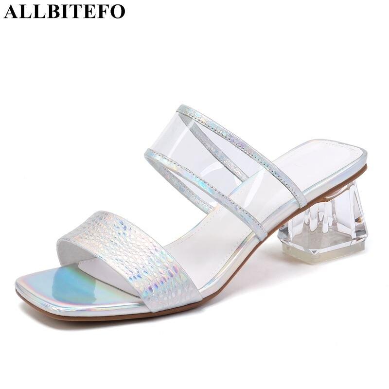 Allbitefo 큰 사이즈: 34 42 정품 가죽 하이힐 여성 신발 고품질 여성 하이힐 신발 크리스탈 힐 여성 힐-에서슬리퍼부터 신발 의  그룹 1