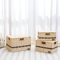 Straw baskets organizer with lid for storage of toy unique dust proof paper rattan weaving fruit basket desk storage bread boxes