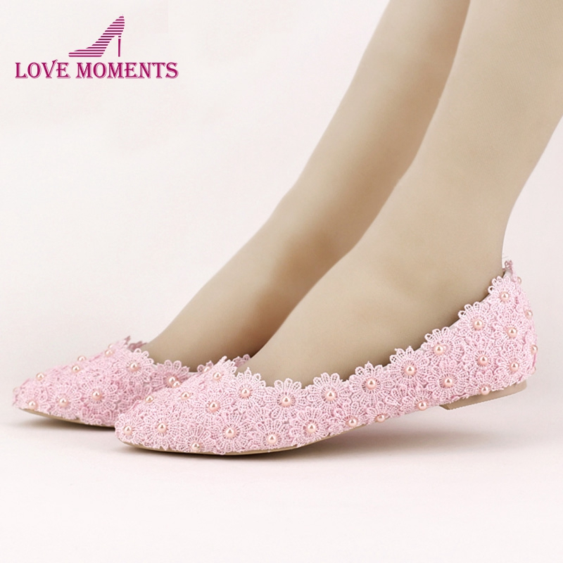 55af50933770 Flat Heels Pearl and Lace Flower Bridal Shoes Pointed Toe Wedding Party  Dancing Shoes Beautiful Bridesmaid