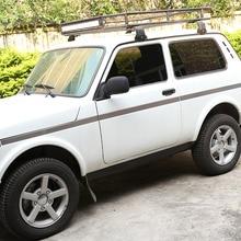 Нержавеющаясталь автомобильный Стайлинг автомобиля отделка кузова, молдинг на боковые двери для LADA NIVA матовый автомобиля внешние аксессу...