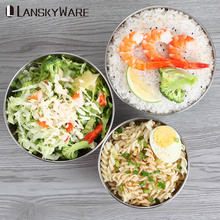 LANSKYWARE 304 Stainless Steel Rice Bowl Colorful Wheat Straw Salad For Kids Kitchen Fruit Food Container Soup Snack