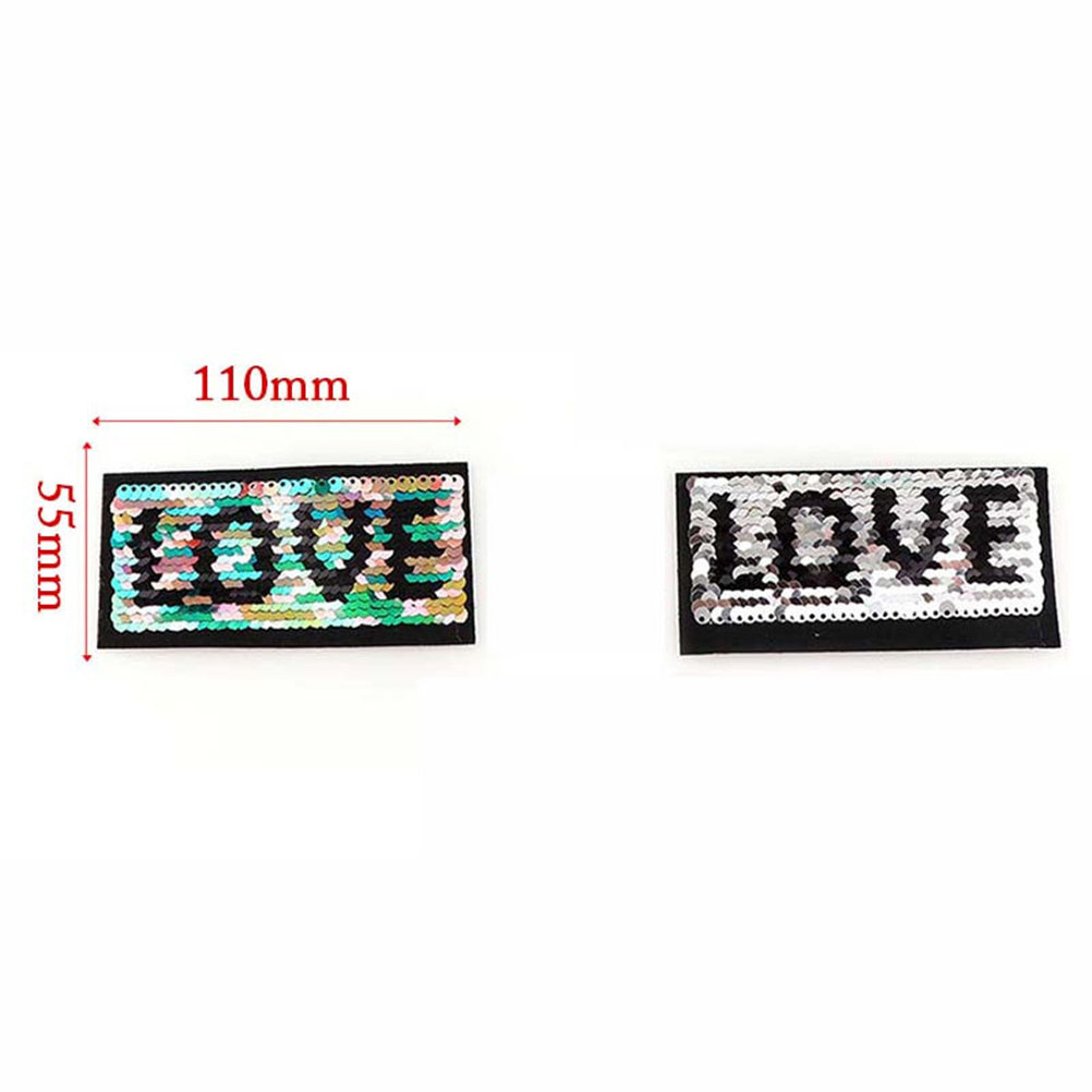 2018 New Patch deal with it clothes t shirt women stickers Reversible change color sequins LOVE badge patches for clothing