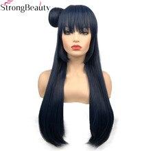 חזק יופי סינטטי ארוך 70 cm כחלחל גריי פאות ישר נשים פאה עם שיער פקעת צושימה Yoshiko