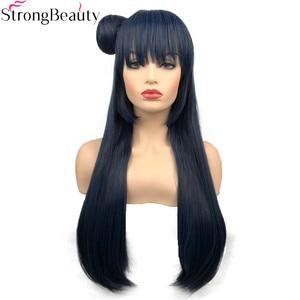 Image 1 - חזק יופי סינטטי ארוך 70 cm כחלחל גריי פאות ישר נשים פאה עם שיער פקעת צושימה Yoshiko