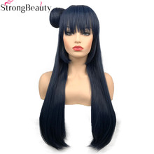 Strong Beauty Synthetic Long 70cm Bluish Grey Wigs Straight Women Wig with Hair Chignon Tsushima Yoshiko