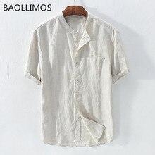 Новая мода, мужские летние мешковатые рубашки с коротким рукавом из хлопка и льна, однотонные пляжные рубашки на пуговицах, высокое качество, мужская повседневная рубашка