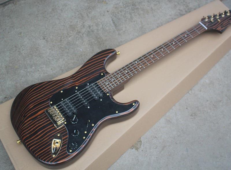 zebra wood electric guitar with black pickguard hsh pickups zebra wood fretboard gold hardwares. Black Bedroom Furniture Sets. Home Design Ideas