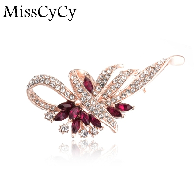 MissCyCy 2016 New Wedding Jewelry Crystal Rhinestone Flowers Gold Color/Silver Brooches Pins For Women