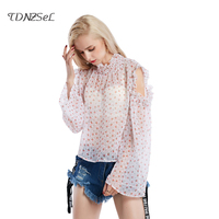 2018 Chiffon Print Blusas Floral Shirt Women Sexy See Through Open Shoulder Top Elegant Plus Size Loose Blouses New Folds O Neck