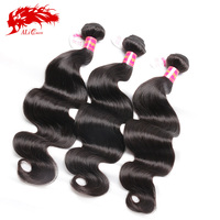Ali queen hair products brazilian body wave 3 bundles, 6A brazilian virgin hair body wave tangle free human hair weave bundles