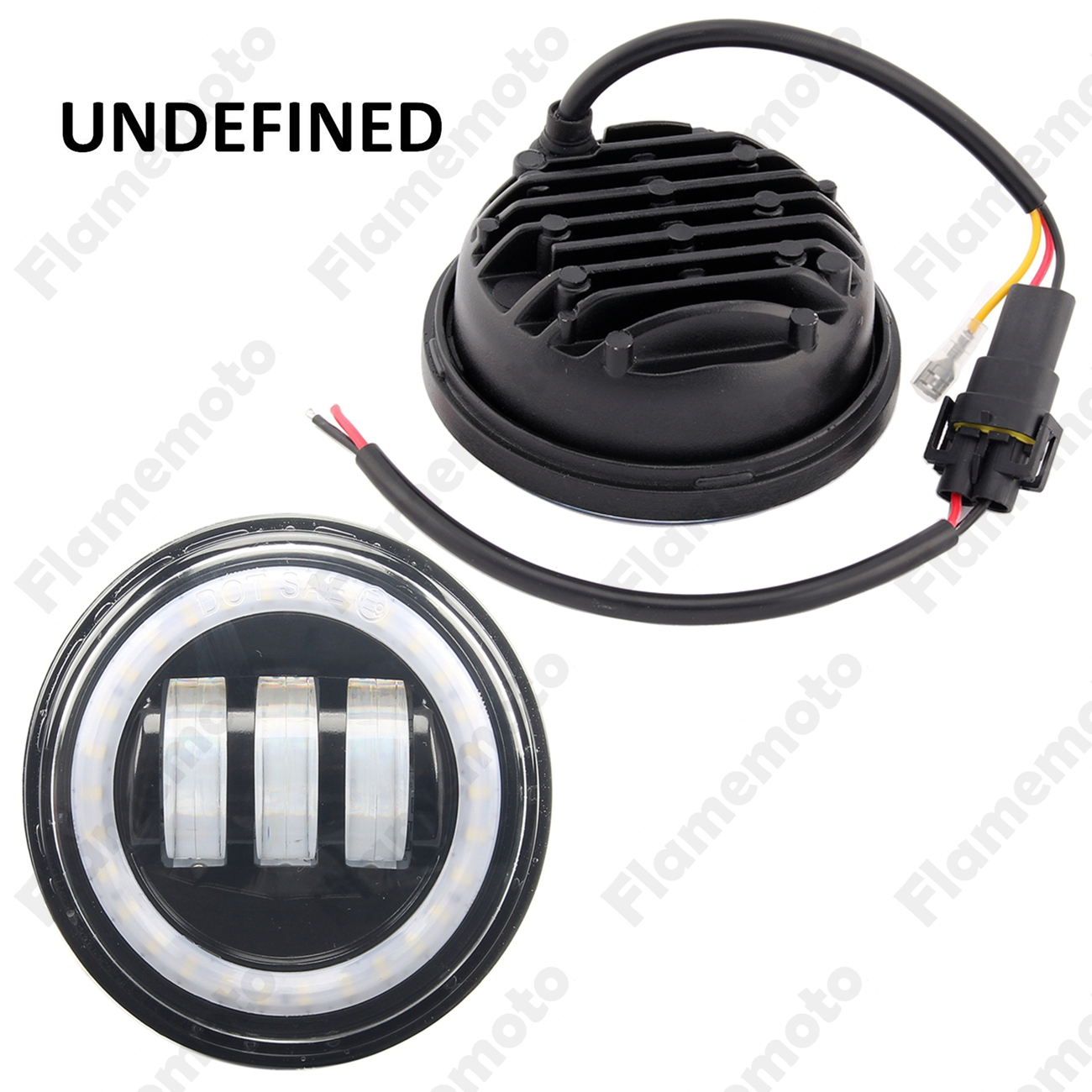4 1/2 Black LED Auxiliary White Halo DRL Motorcycle Fog Light Lamps For Harley Touring Electra Glide Dyna CVO UNDEFINED