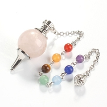 UMY New Trendy Silver Plated Natural Rose Quartz Pendulum Dowsing Pendant Charm Jewelry 18mm