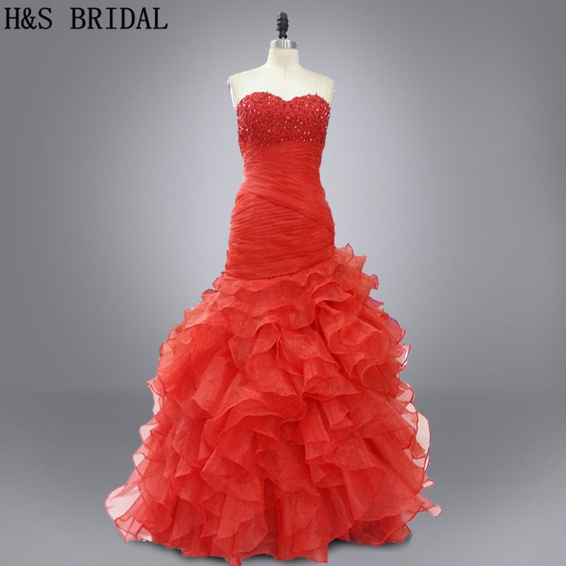 Real photo Beaded sweetheart sleeveless red ruffles Layered organza   prom     dresses