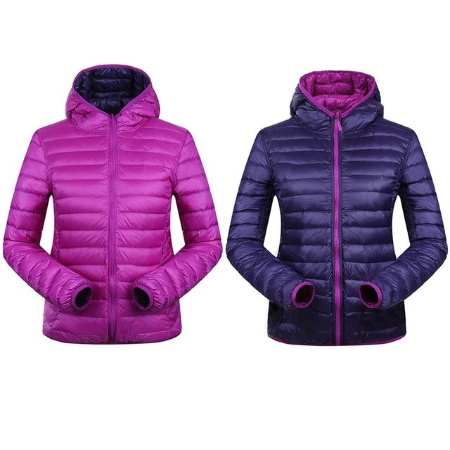 90% Зима Утка Пуховик Женщин С Капюшоном Ultra Light Вниз Куртки Реверсивный две стороны носить куртки женщин Зимнее Пальто Парки