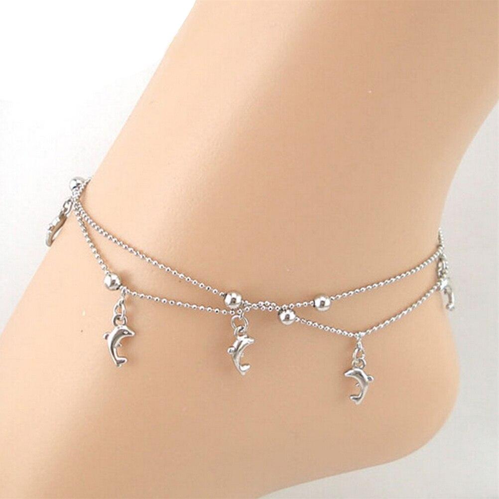 1 Stück Frauen Kette Goldmakrele Fußkettchen Armband Sandale Strand Fuß Schmuck Silber Armband
