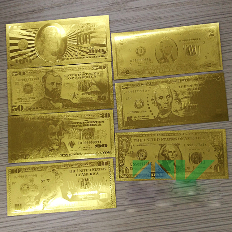 24k Gold Banknotes Fake Money Usa Foil Bills 1 2 5 10