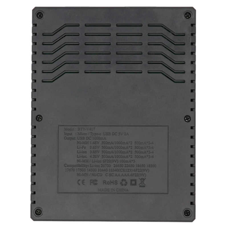 BTY-V407 شاحن بطارية ليثيوم أيون Li-fe Ni-mh Ni-CD الذكية شاحن سريع ل 18650 26650 6F22 9 فولت AA AAA 16340 14500 شحن البطارية