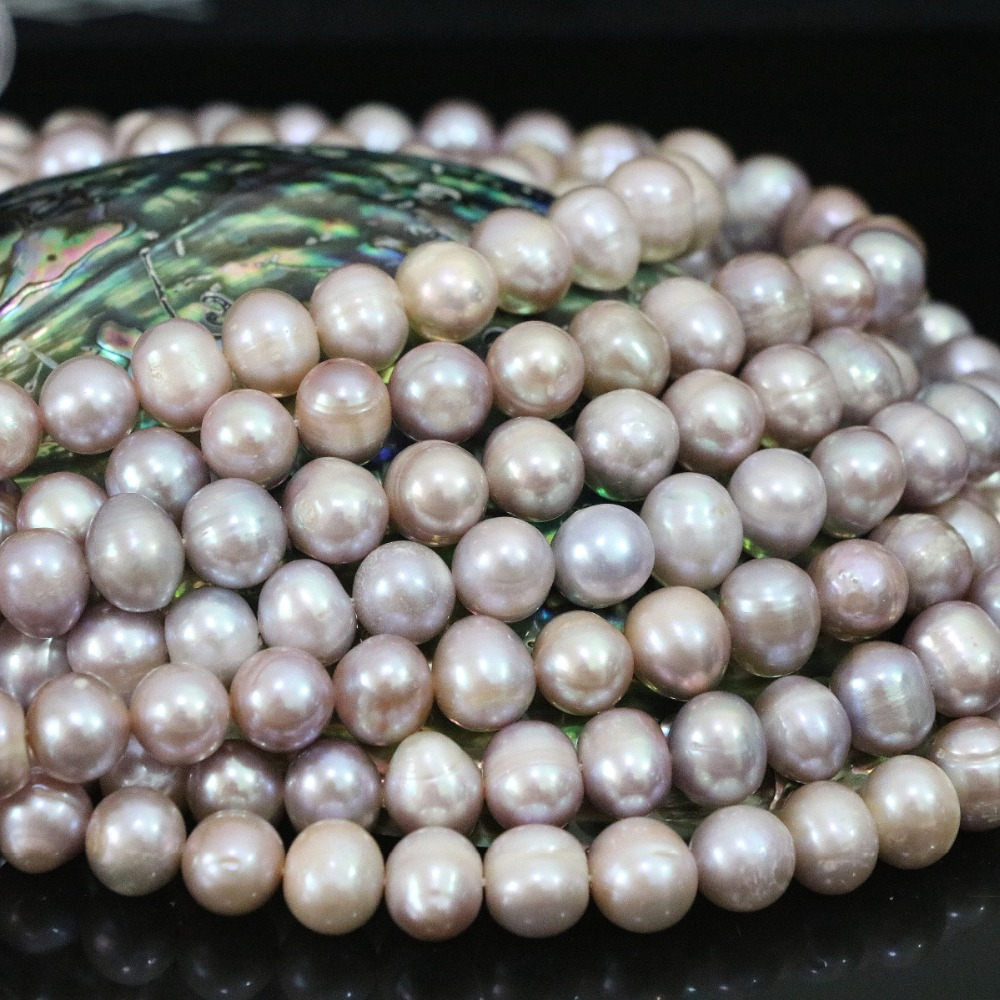 Purple 9-10mm natural freshwater round pearl loose beads high grade top quality hot sale women jewelry making 15inch B1402