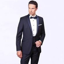Navy Blue Shawl Lapel Mens Suits 2017 Three Piece Custom Made One Button Wedding Groom Tuxedos (Jacket + Pants Vest Tie)