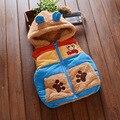 2016 Novos Meninos Do Bebê Meninas Casaco de Inverno Crianças Quentes Colete Crianças engrossar Casacos Jacket moda dos desenhos animados com capuz 3 Cores
