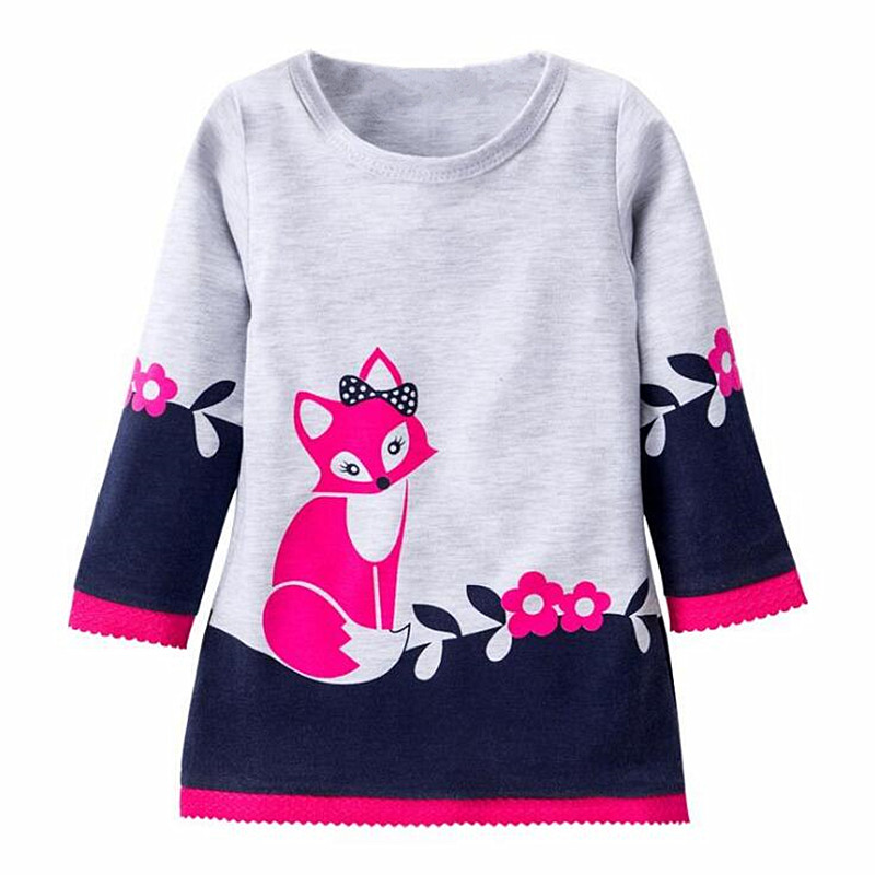 2017 New Spring Autumn Girls Dresses Kids Cotton Long Sleeve Super Cute Fox Printing Dresses Princess Dress For Girl Children belababy baby girls preppy style dress princess children autumn double breasted cute kids casual long sleeve dresses for girls