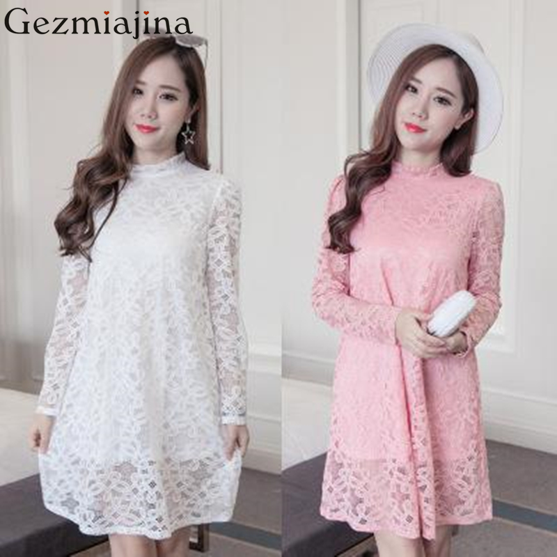 2018 Spring autumn maternity clothes new fashion pregnancy women dress Horn sleeve loose dress Tulle Lace Dresses