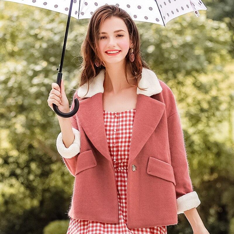 FOGIMOYA Woolen Coat 2018 Autumn New Boutique Women's Color Matching Lamb Hair Short Paragraph Coat Lady Wool Coat Women