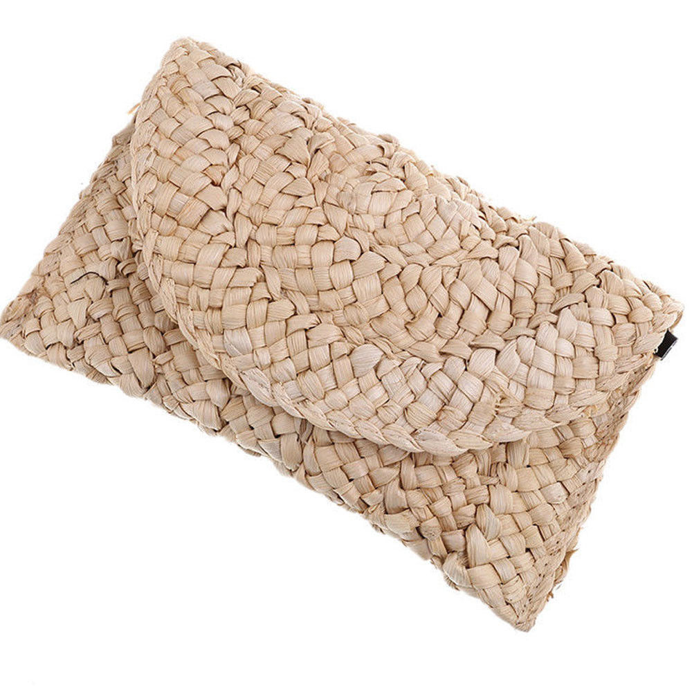 Bohemian Women Straw Bag New Fashion Clutch Bags Female Handbag Handmade Rattan Bag Corn Peels Woven Summer Casual Beach Pocket