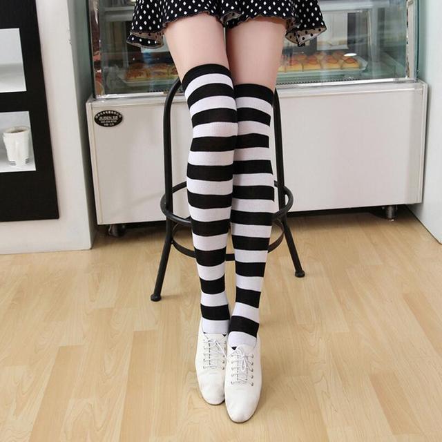 Calcetines por encima de la rodilla para mujeres lindas niñas Kawaii Lolita algodón a rayas largas muslo alta medias Anime Cosplay