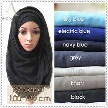 10 шт./лот исламский мусульманский хиджаб шарф твердый вискозный hijabs Модные макси шали из фуляра женские длинные шарфы бандана обертывания