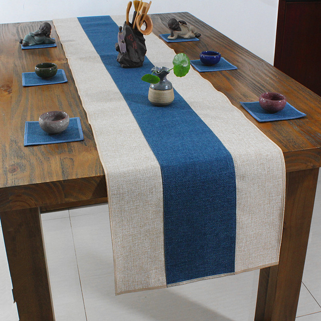Latest Plain Patchwork Table Runner Rectangle Cotton Linen Modern Simple  Coffee Table Cloth Dining Table Mats