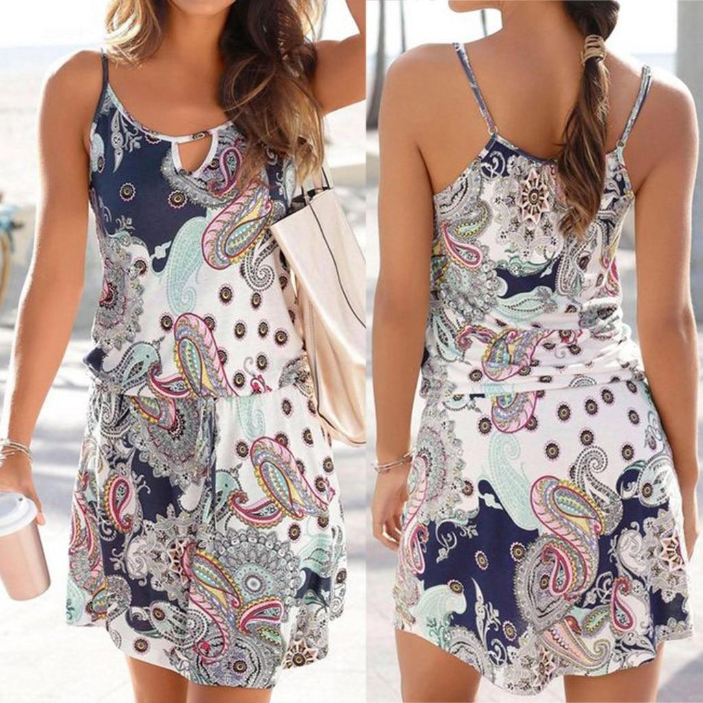 Платье туника de verano, мини платье в стиле бохо, Пляжное платье с цветочным принтом, свободный сарафан, мини платье для вечеринок, большие размеры, W0619|Платья|   | АлиЭкспресс