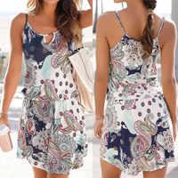 vestidos de verano Mini Dress Boho Style Floral Print Beach Dress Tunic Sundress Loose Mini Party Dress Vestidos Plus Size W0619