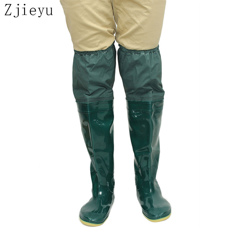 2018 ใหม่สีเขียวนุ่ม แต่เพียงผู้เดียวบู๊ทส์ตกปลาพีวีซีสูง bot รองเท้าฝนผู้ชายรองเท้า antiskid galoshes บุรุษยางบูตฝน
