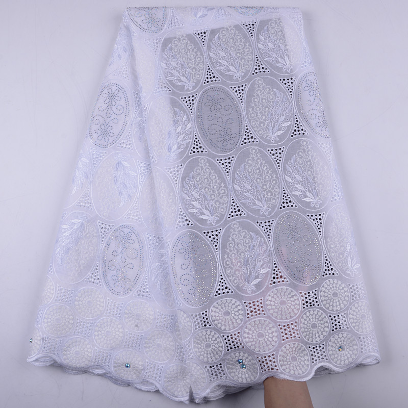 2019 White African Dry Lace Fabrics High Quality Nigerian Cotton Lace Fabric With Stones Swiss Voile