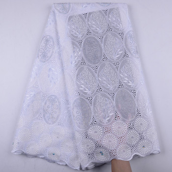 2019 White African Dry Lace Fabrics High Quality Nigerian Cotton Lace Fabric With Stones Swiss Voile Lace In Switzerland Y1486