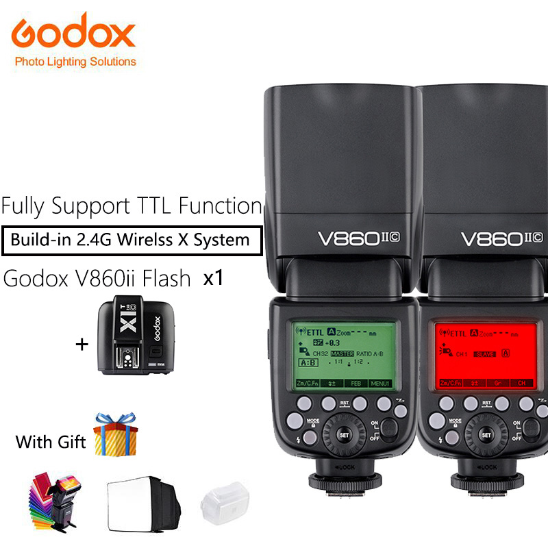 Godox V860II Speedlite Camera Flash with Li-ion Battery + X1T Trigger Transmitter Fast 2.4G Wireless TTL For Canon/Nikon/Sony godox v860iic v860iin v860iis x1t c x1t n x1t s hss 1 8000s gn60 ttl flash speedlite 2 4g transmission godox softbox filter