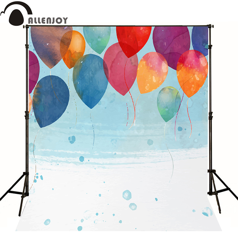 Allenjoy Photographic background balloon color water blue baby happy birthday photo background backdrops for sale photocall