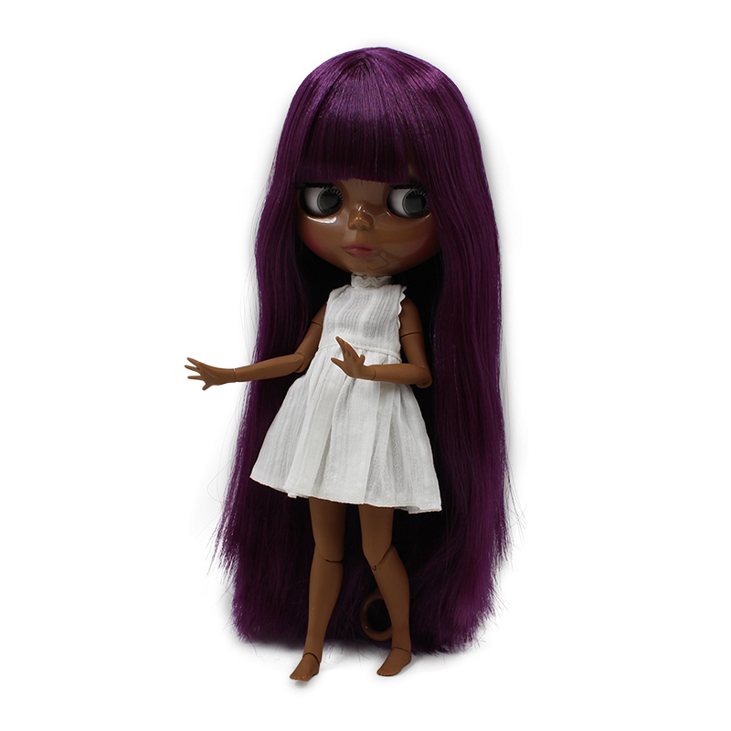 fortune days factory blyth doll super black skin tone darkest skin deep purple Straight Hair with bangs 30CM 280BL1962 1/6
