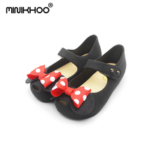 Mini Melissa Jelly Sandals Wave Point Mickey Bow Tie Girl Fish Mouth Princess Comfortable Shoes