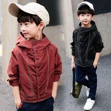 INS/Популярные уличные куртки для мальчиков куртка в Корейском стиле на осень и весну для детей от 4 до 13 лет однотонное классическое Детское пальто с капюшоном и вышивкой