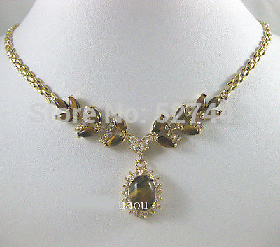 Gros noble lady 18KGP oeil de tigre perle de pierre collier pendentif