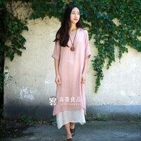 Summer Women Dress 2017 New Fashion Style Linen Women Long Dress Original Brand Casual Dress Linen Robe Dress