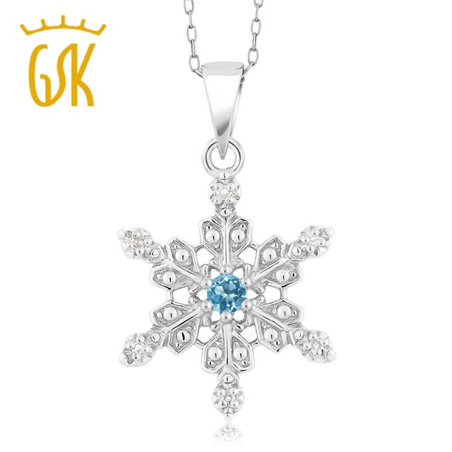 Gemstoneking topacio azul genuino esterlina del sólido 925 de plata del copo de nieve colgante de collar de la joyería fina para las mujeres