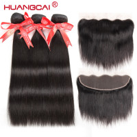 Huangcai Brazilian Hair Weave Bundles With Lace Frontal Closure Straight Human Hair 3 Bundles Non Remy